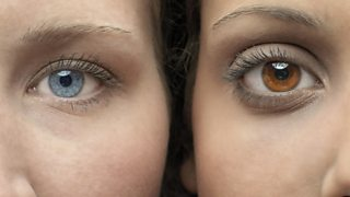 Close up of two faces: one with blue eyes and one with brown eyes.