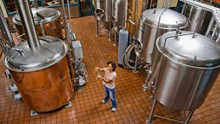 Interior of a commercial brewery.
