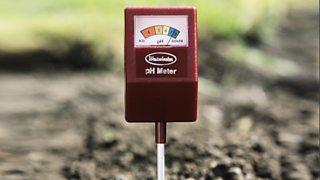 Soil pH meter showing a pH of 7.5.