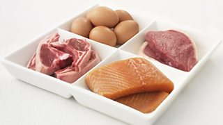 Lamb chops, beef steaks, eggs and salmon.