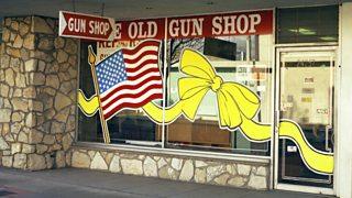 The window of Yae Old Gun Shop in Valencia, California