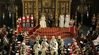 Her Majesty delivers the Queen's Speech in the House of Lords.