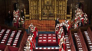 Members of the House of Lords enter the chamber