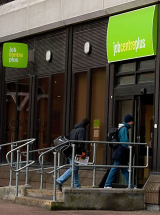Two men going into Jobcentre Plus