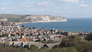 A general view of the coastal town of Swanage
