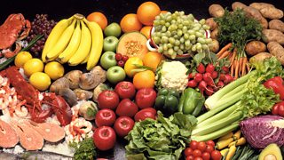 A selection of fruit, vegetables and fish