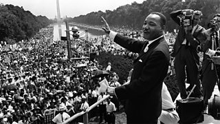 "Dr. Martin Luther King making his ""I have a dream"" speech"