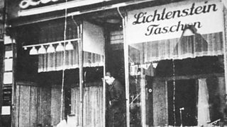 A shop damaged during Kristallnacht