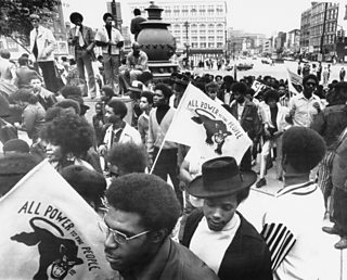Members of the Black Panther Party demonstrating