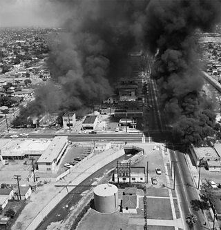 Burning buildings during the Watts riots, August 1965