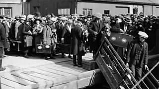 Emigrants from the Hebrides boarding the 'Matagama' at Glasgow docks on their way to Canada