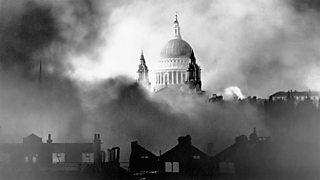 London buildings being bombed during the Blitz