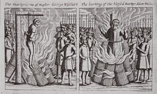 Etching of George Wishart being burnt at the stake