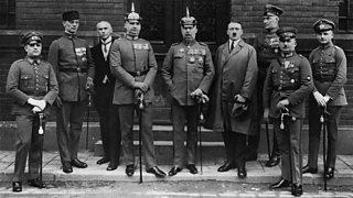 Pernet, Weber, Frick, Kriebel, General Ludendorff, Adolf Hitler, Bruckner, Rohm and Wagner after their trial