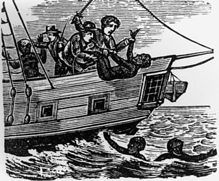 Showing slaves being cast off The Zong ship which was overloaded with slaves