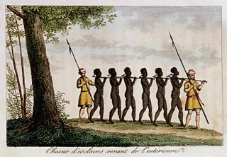 Painting of slaves taken captive and chained together
