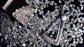 Uncut diamonds with scoop and measurement gauge