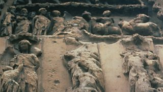 Stone carvings damaged by acid rain