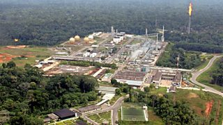 Aerial view of the Urucu oilfield in the Amazon rainforest