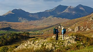 Tourists at Mount Snowdon in Snowdonia, Wales