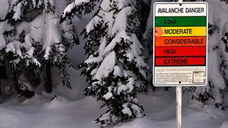 A sign listing the various warnings of avalanche points to moderate