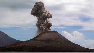 Krakatoa volcano in the Sunda Strait