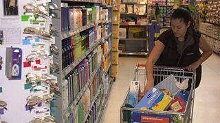 Shopper in a supermarket in Greenwich, London