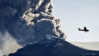 Ash cloud above Eyjafjallajokull volcano in Iceland