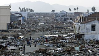 The commercial district of Banda Aceh, Indonesia reduced to rubble after the Indian Ocean tsunami