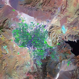 A satellite image of Las Vegas