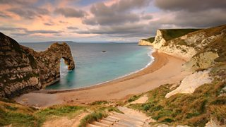 A headland and bay at Durdle Door Beach, Dorset