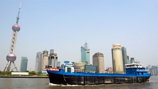 A container ship in Pudong, China