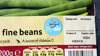 Food label showing green beans are flown to the UK from Kenya