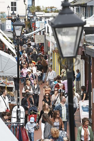 A busy high street in Brighton, UK