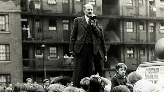 Labour leader Clement Attlee campaigns to a large crowd in the 1945 General Election