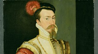 Portrait of Robert Dudley 1st Earl of Leicester wearing costume of the period