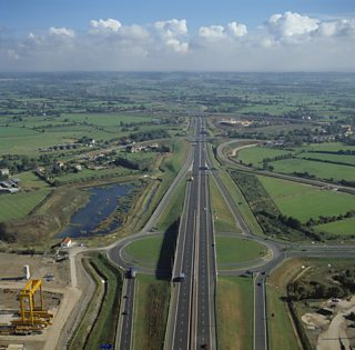 Aerial view of the M4 motorway