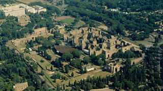 Arial view of the ruins of the baths of Caracalla, in Rome.