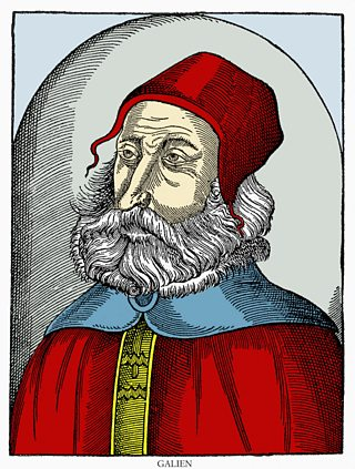 Illustration of the doctor Galen wearing a red cap as depicted in a 16th century book.