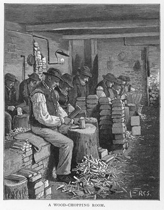 Drawing of men chopping wood in the workhouse.