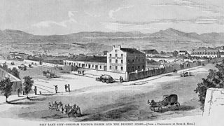 Illustration depicting a popular view of Mormons and Salt Lake City, Utah territory.
