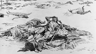 Painting of victims laying on wounded knee creek battlefield.