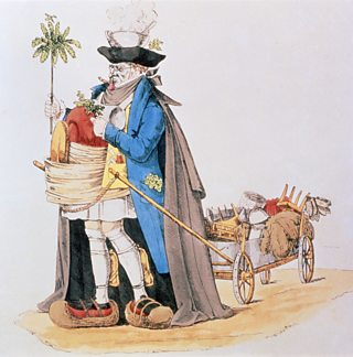 Cartoon of man defending himself from cholera with a mask, infusion on his head, foot protectors and aromatic herbs.