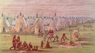 Painting showing a tipi tent village and a group of native Americans in the foreground.