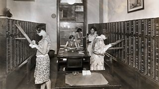 Women working at First National Bank, New York.
