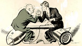 A cartoon of Kennedy and Khrushchev arm wrestling sitting on nuclear missiles
