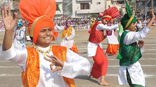 Indian youth perform a traditional Bhangra dance