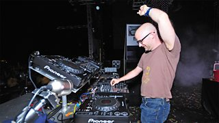 The musician, Moby, performs a set on stage