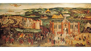 The meeting in Balinghem, France, in 1520, between King Henry VIII of England and King Francis I of France. The Field of the Cloth of Gold (1545)