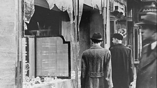 Smashed window in the aftermath of Kristallnacht